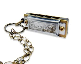 Harmonica Necklace Miniature Tiny Hohner Harmonica Bronze Necklace - by Gwen DELICIOUS Jewelry Design