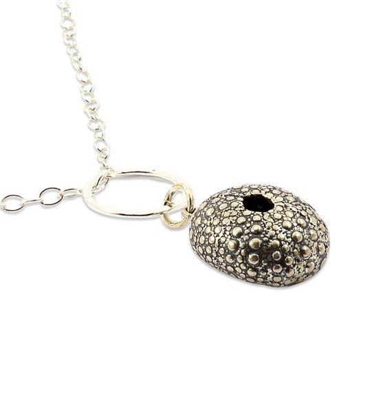Sea Urchin Necklace Sterling Silver Pendant  - Ocean Animals - Gwen Delicious Jewelry Designs