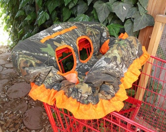 MOSSY OAK CAMO or Real Tree Camo and Orange w/ Ruffle Fully Padded Boutique Shopping Cart Cover - More Colors Available