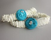 Wedding Garter SET - Ivory and Turquoise Silk (or choose your colors) - Vivien Bridal Garter - something blue garter & toss garter