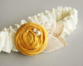 Silk, Burlap & Lace Bridal Garter - Ivory, Yellow (Other Colors Available) - the Rosalie Wedding Garter