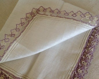 Irish Linen Hankie ~ Lavender Tatted Trim ~ Antique Wedding Gifts ~ Beautiful Heirloom Handkerchief ~ Vintage Linens