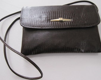 Dark Brown Faux Gator Purse