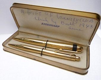 Eversharp Skyline Solid 14k Gold Pen and Pencil Set
