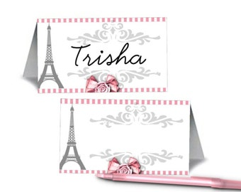 12 Blank Table Tent Place Cards, Name Cards, Food Labeling Cards, Bridal Shower, Baby Shower, Wedding, Birthday, Paris Eiffel Tower, French