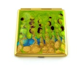 Compact Mirror Peacock Inspired Square Mirror Hand Painted Glossy Enamel Finish Customizable