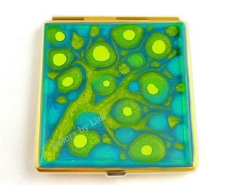 Square Compact Mirror Hand Painted Enamel Turquoise and Lime Green Blossom Inspired Custom Colors and Personalized Options