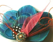 AQUA and ORANGE Peacock Feather Bridal Hair Fascinator Clip with Vintage Jewel OOAK and Skeleton Leaf Hot Wedding Trend