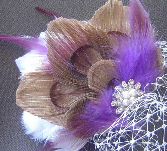 Peacock Feather Fascinator Clip and Attached Veil CHOCOLATE and PEARL with Purple Fall Bridal PIECE