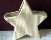 Vintage Soft White Pottery 5 Points Star Candle Holder Planter, Home Decor, Ivy Planter, Pottery, Candle Holders