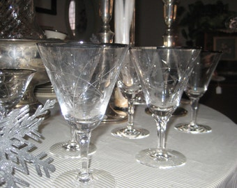 "Vintage ""Fostoria"" Cut Crystal Stemware  Wine/Water Goblets Set of 10"