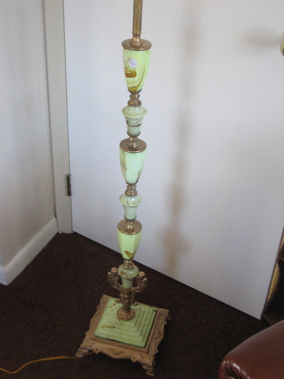 Art Deco Green Slag Glass Pole Floor Lamp Free Shipping