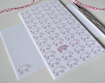 Little Pig Card - Pink piglets - modern design