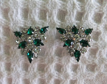 Vintage Earrings Clip On B David Green and Clear Rhinestone Triangle Signed Designer Costume Jewelry