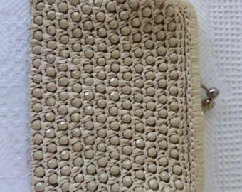 Vintage Purse Clutch Woven Straw Raffia Beaded Clutch Purse Beige Natural 1960s Accessory
