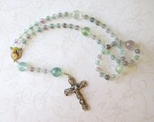 Fluorite Rosary, Catholic Rosary in Pastels with Sacred Heart and Holy Family Center