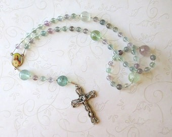 Fluorite Rosary, Catholic Rosary in Pastels with Sacred Heart and Holy Family Center - Needs a home, more than 50% off