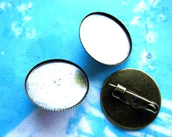 10pcs 20mm antiqued bronze cameo/cabochon 20mm base setting brooch/hair safepins
