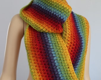 Super Long Crochet Rainbow Chunky  Scarf -  Cowl Scarf - Neck Warmer - Infinity Scarf