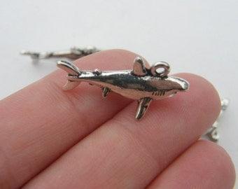 BULK 20 Shark charms antique silver tone FF64