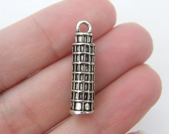 2 Leaning tower of Pisa pendants antique silver tone WT60
