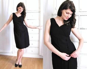 60s Cocktail Dress / 1960's Black Dress