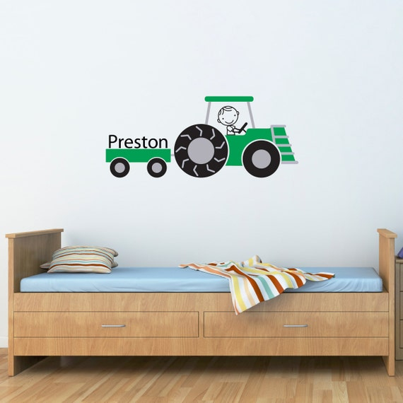 Tractor wall decal personalized name farm decal farmer for Barnyard wall mural