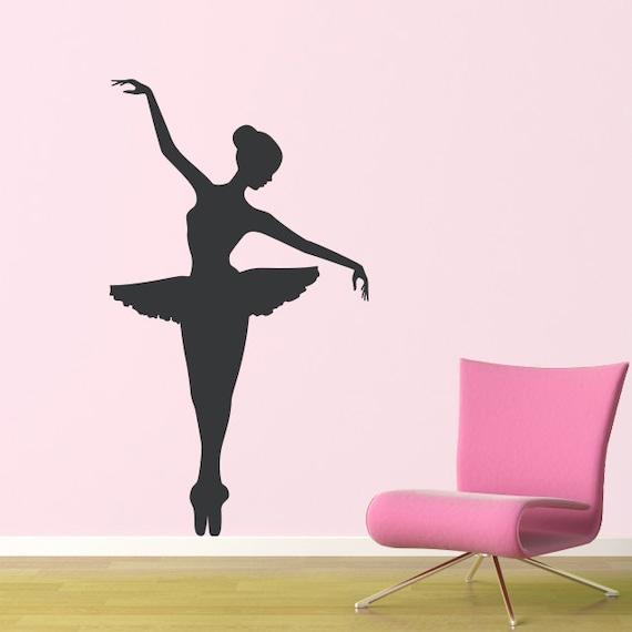 Big ballerina wall decal girl bedroom decor dancing wall for Stickers para pared de dormitorio