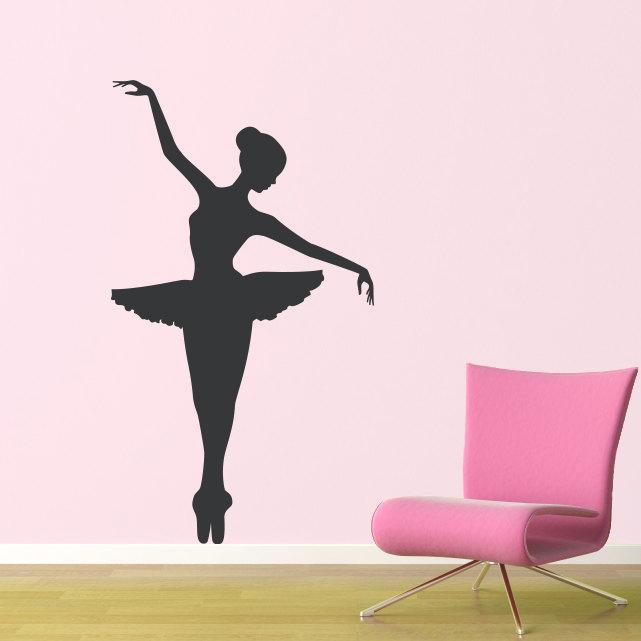 Big ballerina wall decal girl bedroom decor dancing wall for Ballerina wall mural