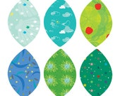 Summer Pattern Leaves - Peel and Stick Repositionable Stickers