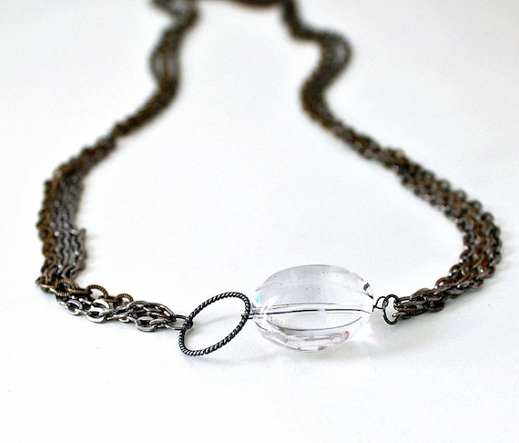 Mixed Metal Necklace Statement Necklace Layered Necklace Crystal Quartz  Modern Jewelry Gift Under 50, Grit
