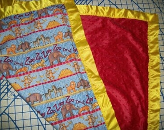 Red Minky Zoo Flannel Receiving Carry Around Child Baby Blanket
