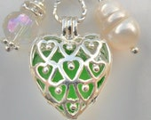 WHOLESALE - Bulk - SAVE - 5pcs - Silver plated - filigree Heart Lockets - pendants - Pearl cage - gemstone cage