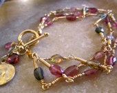 Feminine  Watermelon Tourmaline 3 Chain Bracelet 14 kt Gold Filled