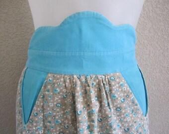 1940s half APRON AQUA Blue on taupe small print flowers & bright trim