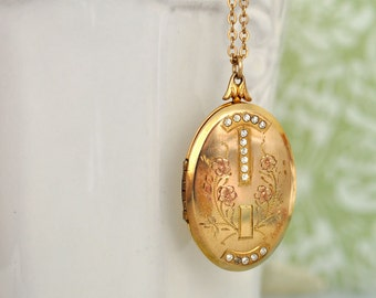 vintage find MEMERIES WITHIN antique 1930s Art Nouveau style 12k gold filled engraved 16 stones locket with chain