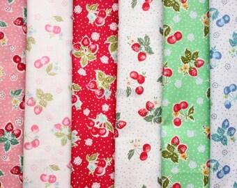 6 pieces of fabrics - Antique fruit mini by Atsuko Matsuyama - Printed in Japan