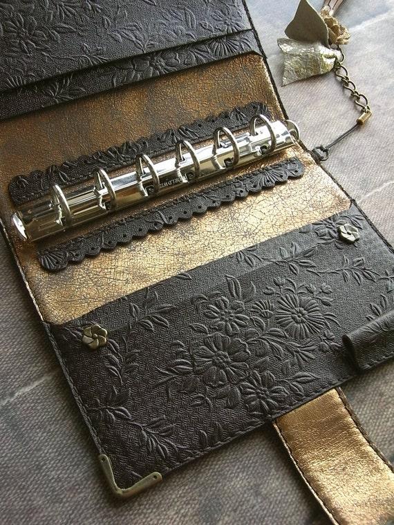 leather binder - chocolate flower - hand stitched