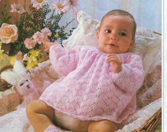 Baby KNITTING PATTERNS Baby/Reborn Doll  - 18 to 19 in chest ANGEL top and Booties