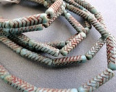 Turquoise Picasso Engraved Tubes - Premium Czech Glass Beads - Thin Tube Beads