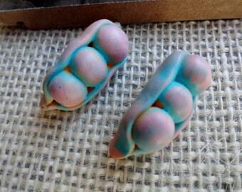 Pea Pod Beads - Polymer Clay Beads
