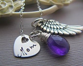 Personalized angel wing Necklace, Custom Birthstone, Silver Initial Charm, Heart Charm, Remembrance Necklace, Guardian Angel, Sympathy Gift