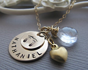 Personalized New Mom Necklace, Baby Name Necklace, Custom Birthstone, Birthdate, Hand Stamped Jewelry