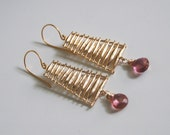Pink Quartz  and Ladder connector Dangle Drop  Earrings