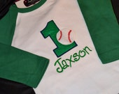 1st Birthday Shirt Baseball shirt number 1 and name personalized Reglan Long Sleeve