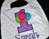 Balloon Birthday Bib-- First Birthday 1st Birthday   Can be plain or embroidered with a name. Your Choice- Same Price