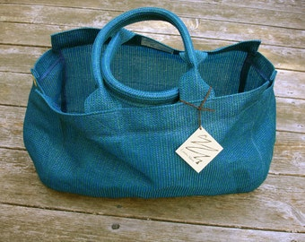 Tote Bag, Vegan tote, Large Mesh Bag, Blue Green Tote Bag, Beach Bag, Mesh Tote Bag, Stylish Tote Bag, Grocery Bag, Shopping Bag, Large Tote
