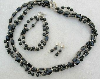 SALE - 50% off, 3-Pc Set, Black Onyx & Sterling Silver, 3-Strand Necklace, 2-Strand Bracelet and Matching Earrings, Set by SandraDesigns