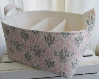Diaper Caddy, Fabric Basket bin with adjustable and removable dividers 12 x 10 x 7
