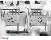 Wedding Chair Signs, Mr. and Mrs. with Thank You on the back. 6 x 12 inches, 2-sided.  Bride & Groom Signs, Wedding Signs, Photo Props.